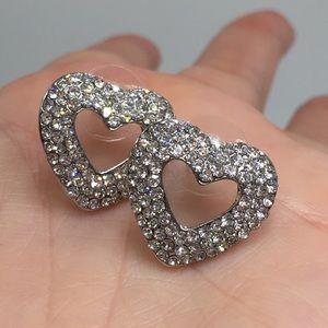 Jewelry - 14k gold 3CT heart pave earrings love wedding